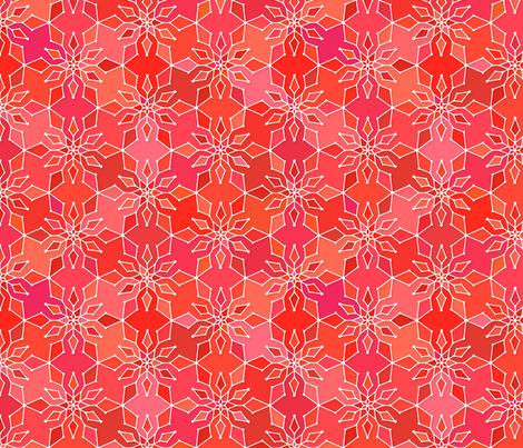 Snowflake in red fabric by heleenvanbuul on Spoonflower - custom fabric