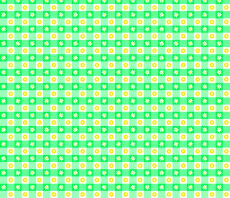 Fleur Vichy verte fabric by manureva on Spoonflower - custom fabric