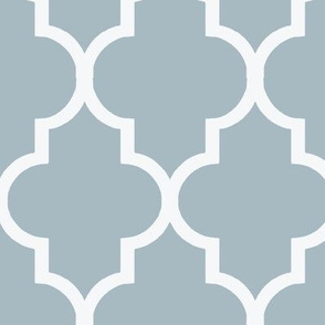 Cashmere Blue and White Quatrefoil