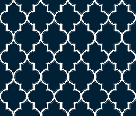 Navy Ogee Flourish fabric by willowlanetextiles on Spoonflower - custom fabric