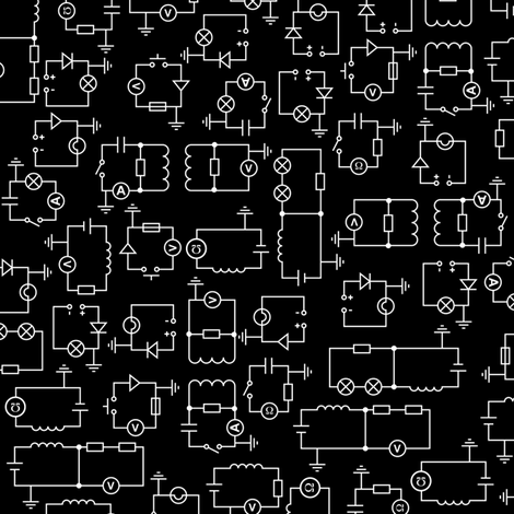 Electric Circuits (Black) wallpaper - robyriker - Spoonflower