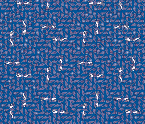 Greyhound Silhouette Paisley pink and blue  © 2012 by Jane Walker fabric by artbyjanewalker on Spoonflower - custom fabric