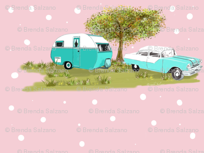 vintage camping in style of the 1950 39 s fabric salzanos spoonflower. Black Bedroom Furniture Sets. Home Design Ideas