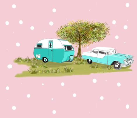Vintage Camping in Style of the 1950's fabric by salzanos on Spoonflower - custom fabric