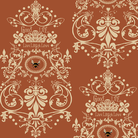 Bee damask / copper fabric by paragonstudios on Spoonflower - custom fabric