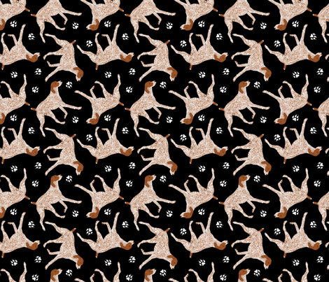 German Shorthaired Pointer and paws - black fabric by rusticcorgi on Spoonflower - custom fabric