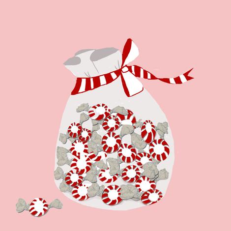 Peppermint bag on pink fabric by karenharveycox on Spoonflower - custom fabric