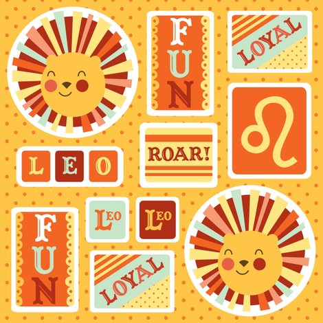 Leo Stickers fabric by amel24 on Spoonflower - custom fabric