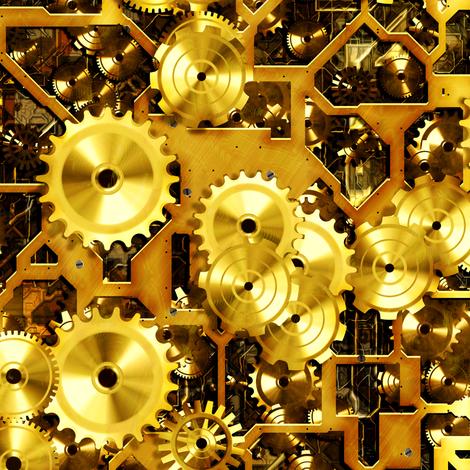 Steam Clockwork - Brass fabric by bonnie_phantasm on Spoonflower - custom fabric