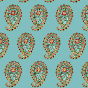 Paisley on Chinese turquoise background