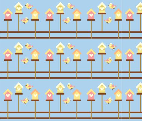 Birds and Bird Houses fabric by peacefuldreams on Spoonflower - custom fabric