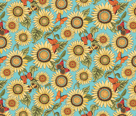 Believe_medium_flowers_brown fabric by mindsthatcreate on Spoonflower - custom fabric
