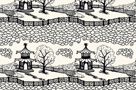CLOUD PAGODA BLACK ON IVORY fabric by danikaherrick on Spoonflower - custom fabric