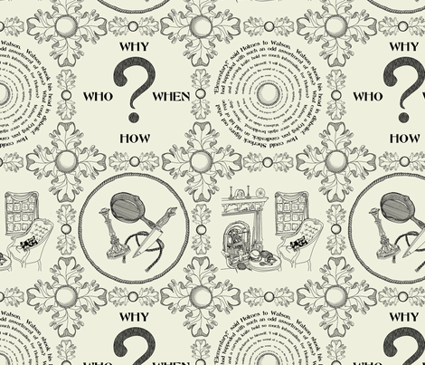 It's a mystery!!!!!!!!!!!!! - Traditional Toile fabric by glimmericks on Spoonflower - custom fabric