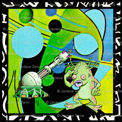 Alien Pop Art Artist. throw pillow cover