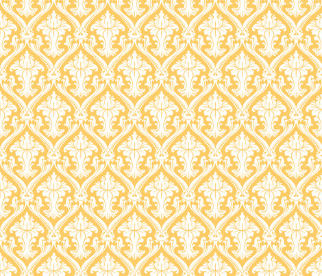 Vintage Yellow Damask fabric by peacefuldreams on Spoonflower - custom fabric