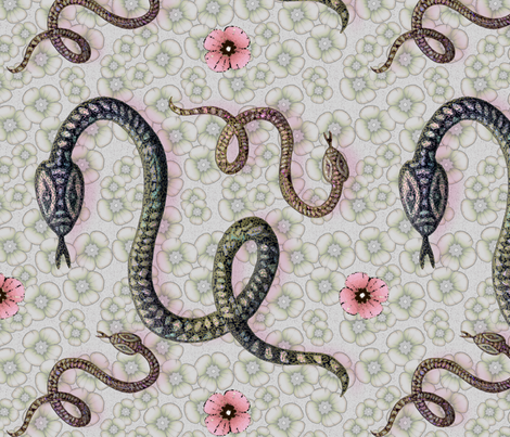 Snake year with flowers, second version fabric by lucybaribeau on Spoonflower - custom fabric