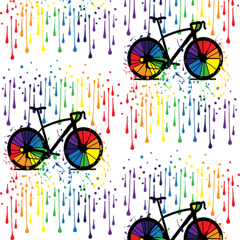 Rainbow bicycle fabric by cutiecat on Spoonflower - custom fabric