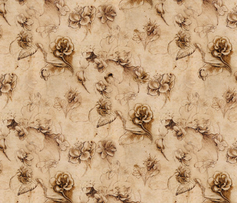 Leonardo da Vinci - Flower Study fabric by peacoquettedesigns on Spoonflower - custom fabric