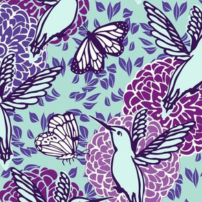 Flights of Fancy purple and teal