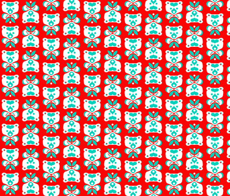 Love Bear -teal & white on red fabric by bjornonsaturday on Spoonflower - custom fabric
