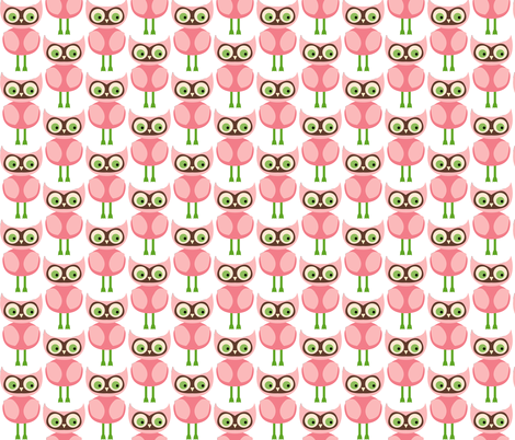 Cute Pink Owls fabric by peacefuldreams on Spoonflower - custom fabric