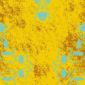 Gold Aqua and Brown Grunge Damask