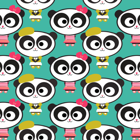 Panda Blu fabric by natitys on Spoonflower - custom fabric