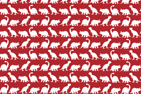 Dino Parade - Red fabric by sshaw1tx on Spoonflower - custom fabric