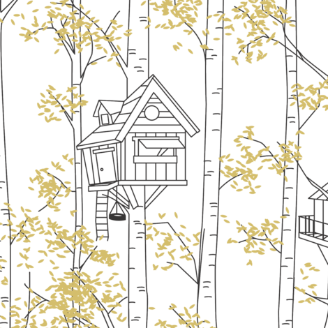 Treehouses - small scale fabric by janelle_wooten on Spoonflower - custom fabric