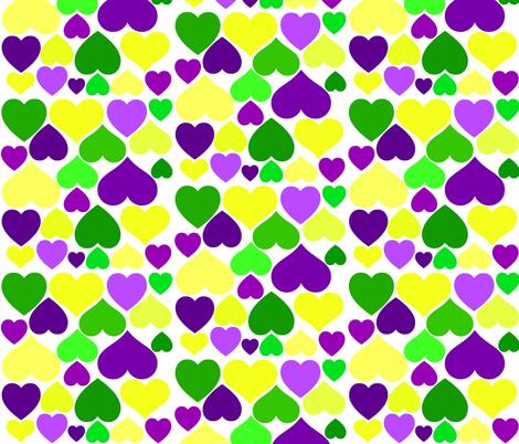 MARDI GRAS HEARTS fabric by bluevelvet on Spoonflower - custom fabric