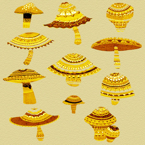 gold mushsrooms  fabric by krs_expressions on Spoonflower - custom fabric