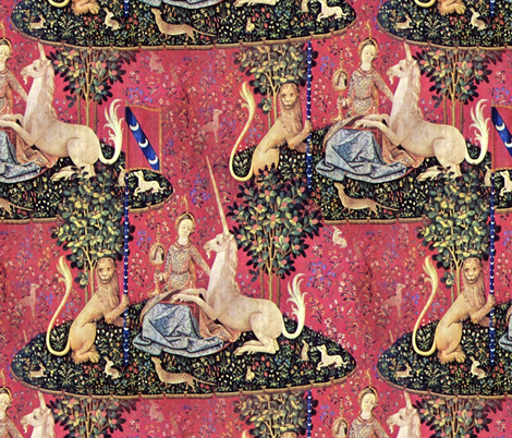The Lady & The Unicorn Tapestry ~ Medium fabric by peacoquettedesigns on Spoonflower - custom fabric