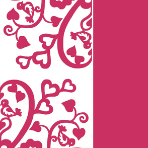 Love birds - 72 inch square, cheater quilt - passionate pink