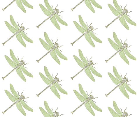 Green Dragonflies fabric by peacefuldreams on Spoonflower - custom fabric