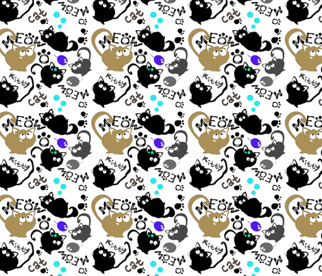 MEOW  cute kitty cat fabric by cutiecat on Spoonflower - custom fabric