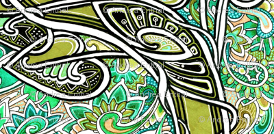 Spades Over Paisley (green vertical stripe)