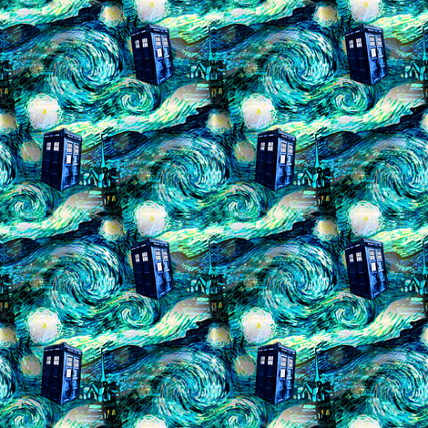 teal swirls landscape blue police box on starry night landscape (900 dpi) fabric by bohobear on Spoonflower - custom fabric