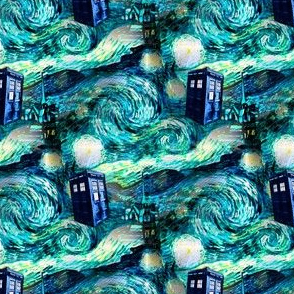 teal swirls landscape blue police box on starry night landscape (900 dpi)