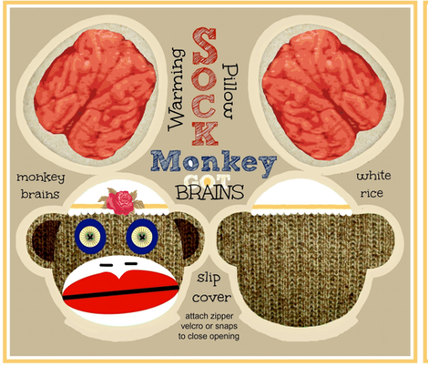 Got Brains! Sock Monkey / Adora fabric by paragonstudios on Spoonflower - custom fabric