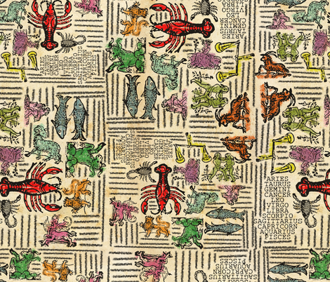Vintage Zodiac fabric by astarmiller on Spoonflower - custom fabric