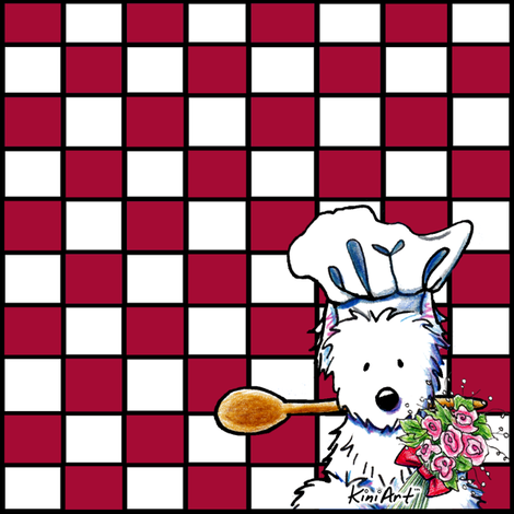 Red and White Westie Chef Large fabric by kiniart on Spoonflower - custom fabric