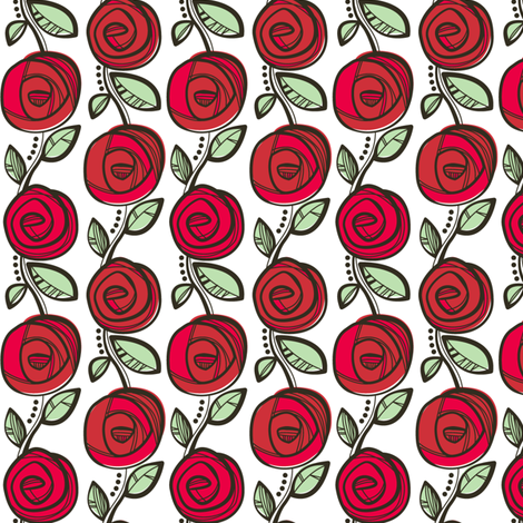Deco Rose Red fabric by charlotteandstewart on Spoonflower - custom fabric