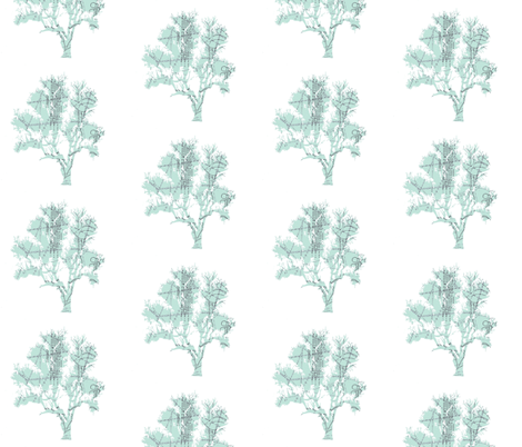 Parisian Patterned Forest on white-ed fabric by karenharveycox on Spoonflower - custom fabric