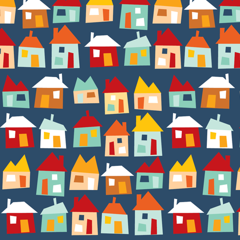 Houses - blue, red fabric by laurawrightstudio on Spoonflower - custom fabric