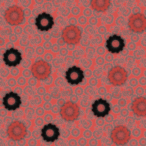 floral_paper_-_coral fabric by glimmericks on Spoonflower - custom fabric