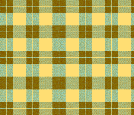 Yellow Palaka brown plaid, teal fabric by waiomaotiki on Spoonflower - custom fabric