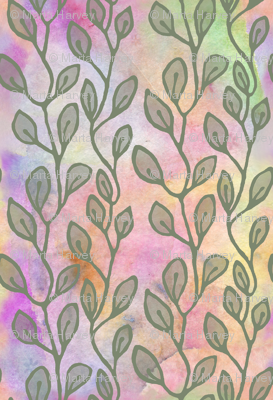 Leaves on watercolors - olive green
