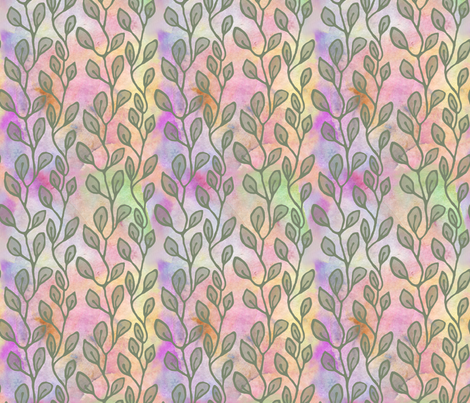 Leaves on watercolors - olive green fabric by martaharvey on Spoonflower - custom fabric