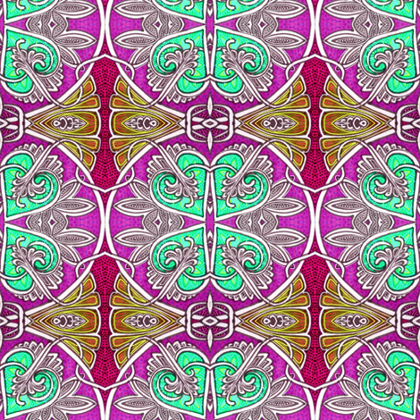 When Four Hearts Meet As One (green version) fabric by edsel2084 on Spoonflower - custom fabric
